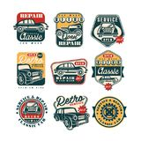 Car service and repair vintage style labels set, auto wash retro classic logo, badge vector Illustrations on a white stock illustration