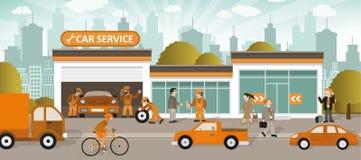 Car service (retro colors) Stock Image