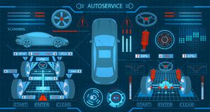 Car service. Scanning. Diagnostic alignment of the wheels. Check of shock-absorbers and the steering mechanism. Graphic. Display. Vector illustration Royalty Free Stock Images