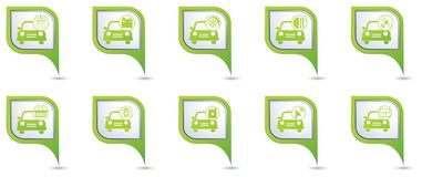 Car service. Set of green map pointers Stock Images