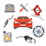 Car service set. Red automobile and working equipment around. Vector Stock Photography