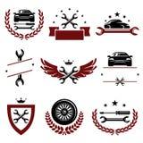 Car service set. Vector. Garage, icon, parts, label royalty free illustration