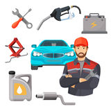 Car service set. Worker near expensive automobile and working tools Stock Image