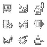 Car service simple line icons Stock Images