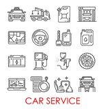 Car service tools and transport thin line icons. Car service thin line art icons. Vector isolated set of taxi car, wrecker truck or petrol canister and auto wash vector illustration