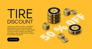Car service tire store discount vector illustration. Tire discount vector illustration of car store or replacement and fitting service. 50 percent promo offer vector illustration