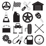 Car Service and Tool Icons Stock Images
