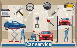 Car service tools concept, cartoon style Royalty Free Stock Images