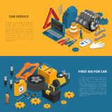 Car Service Tools Isometric Banner Set. Tools isometric banner set with various kits of instruments used in car service vector illustration Royalty Free Stock Images
