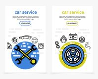 Car Service Vertical Banners. With wrenches motor oil brake disc automobile steering wheel speedometer gears battery tire electric plug line icons vector Royalty Free Stock Photos