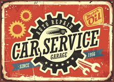 Car service vintage tin sign. Design concept for garage or auto mechanic. Retro signboard with transportation theme on red background. Vector illustration Royalty Free Stock Images