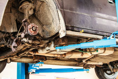 Car in service. wheel assembly on automobile Stock Images