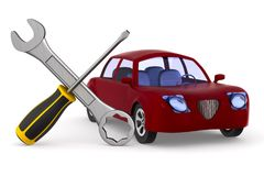 Car service on white background. Isolated 3D illustration.  Royalty Free Stock Images