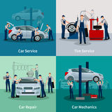 Car Service 2x2 Compositions Royalty Free Stock Images