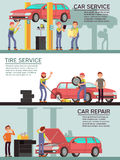 Car services and auto garag vector marketing banners with cartoon mechanic workers. Car services and auto garag vector marketing banners with cartoon mechanic Stock Photos