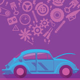 Car Services Concept background. Beetle and automotive icon Royalty Free Stock Photo