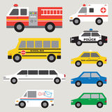 Car Set. Illustration of different types of automobiles including fire truck, ambulance, school bus, police car, taxi, postal truck, van, etc Stock Photos