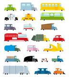 Car set cartoon style. Big transport icons collection. Ground se. T vehicles. Ambulance and school bus. Scooter and fire truck. Police car and a hearse Stock Photography