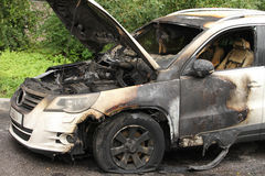 Car set on fire Stock Photo