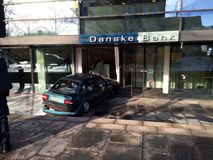 Car shamed in to danske bank_may bank robery Stock Photo