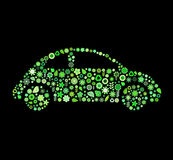 Car shape. Vector illustration of car shape made up a lot of  green small flowers and leaf on the black background Royalty Free Stock Image