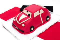 Car-shaped marzipan cake. For birthday Royalty Free Stock Photo