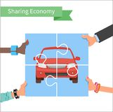 Car share concept. Sharing economy and. Collaborative consumption vector Illustration. Hands holding vehicle puzzle Royalty Free Stock Photos