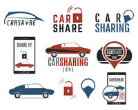 Car share logo designs set. Car Sharing concepts. Collective usage of cars via web application. Carsharing icons Royalty Free Stock Photography