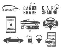 Car share logo designs set. Car Sharing vector concepts. Collective usage of cars via web application. Carsharing icons Stock Image