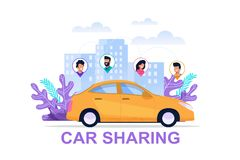 Car Sharing Banner. Economy Transport Concept. Cityscape Environment Illustration with People Location Icon. Cartoon Cab Drive Sharing Banner. Travel Companion royalty free illustration