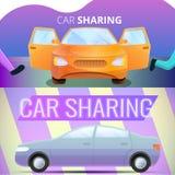 Car sharing banner set, cartoon style vector illustration