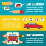 Car sharing banner set, flat style. Car sharing banner set. Flat illustration of car sharing vector banner set for web design royalty free illustration
