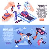 Car Sharing Banners. Cloud based car sharing service horizontal banners set 3d isometric isolated vector illustration stock illustration