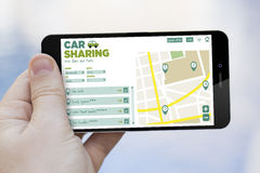 Car sharing cell phone Stock Image