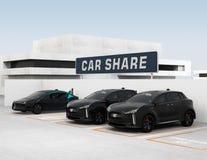 "Car sharing concepï½"". Car sharing concept. 3D rendering image royalty free illustration"