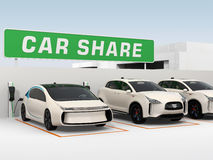 Car sharing concept. Car sharing concept. 3D rendering image Stock Image