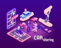 Car Sharing Concept Background. Isometric car sharing composition with conceptual images of touch screen devices cars people and location signs vector royalty free illustration