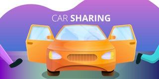 Car sharing concept banner, cartoon style. Car sharing concept banner. Cartoon illustration of car sharing vector concept banner for web design royalty free illustration