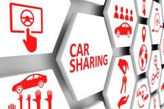 CAR SHARING concept cell background. 3d illustration stock illustration