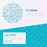 Car sharing concept in circle with thin line icons. Of driver`s license, key, blocked car, pointer, available, searching of car. Vector illustration for banner Stock Image