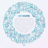 Car sharing concept in circle with thin line icons. Of driver`s license, key, blocked car, pointer, available, searching of car. Vector illustration for banner Stock Photo