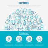Car sharing concept in half circle. With thin line icons of driver`s license, key, blocked car, pointer, available, searching of car. Vector illustration for Stock Photography