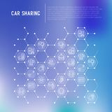 Car sharing concept in honeycombs. With thin line icons of driver`s license, key, blocked car, pointer, available, searching of car. Vector illustration for Stock Photography