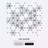 Car sharing concept in honeycombs. With thin line icons of driver`s license, key, blocked car, pointer, available, searching of car. Vector illustration for Royalty Free Stock Image
