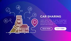 Car sharing: phone in hand with opened mobile app. Car sharing concept: phone in hand with opened mobile app looking for available car. Modern vector royalty free illustration