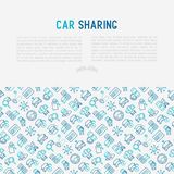 Car sharing concept with thin line icons. Of driver`s license, key, blocked car, pointer, available, searching of car. Vector illustration for banner, web page Royalty Free Stock Images