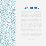 Car sharing concept with thin line icons. Of driver`s license, key, blocked car, pointer, available, searching of car. Vector illustration for banner, web page Stock Photo