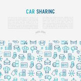 Car sharing concept with thin line icons. Of driver`s license, key, blocked car, pointer, available, searching of car. Vector illustration for banner, web page Stock Photos