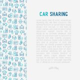 Car sharing concept with thin line icons. Of driver`s license, key, blocked car, pointer, available, searching of car. Vector illustration for banner, web page royalty free illustration