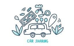 Car sharing concept. Vector flat illustration. Car sharing concept in doodle style. Hand lettering with symbols. Vector illustration stock illustration